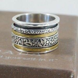 """Silpada Sterling Silver/brass """"Twirl"""" spinner ring"""